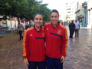 —Leticia y Amelia Monitoras del Club con la Selección Española Absoluta de Futbol Sala en la convocatoria de la pasada semana.